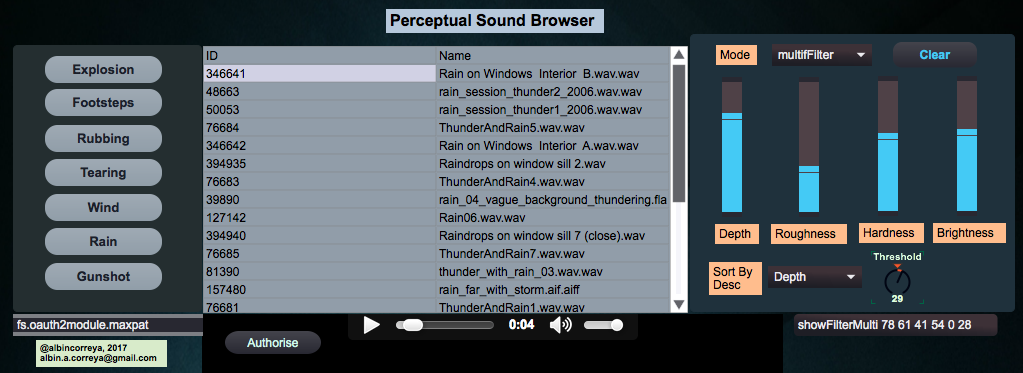 Perceptual Sound Browser screenshot